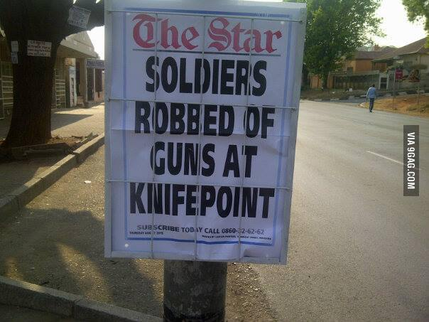 Soldiers Getting Robbed Only In SA