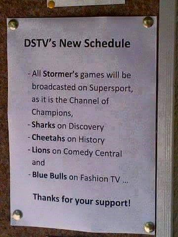 DSTV New Schedule