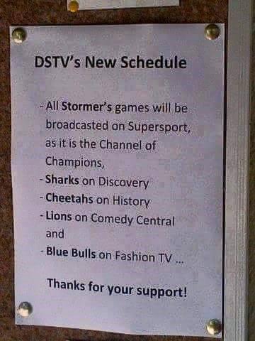 DSTV New Schedule