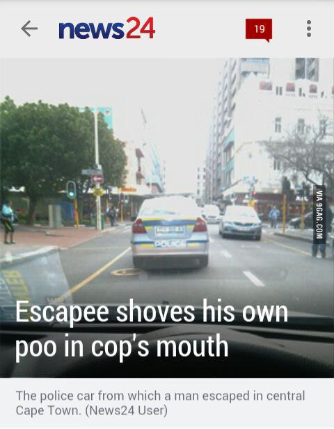 Escapee Shoves His Own Poop In Cops Mouth